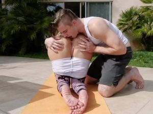 Family nudist yoga