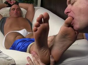 Mature feet licking